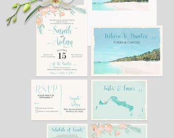 Turks and Caicos Caribbean Beach Destination wedding invitation watercolor ink sketch drawing  illustrated floral set  - Deposit Payment