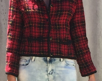 1980s red plaid jacket
