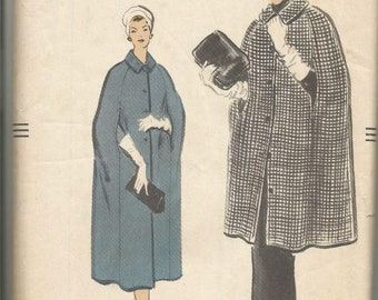 1950s Cape in Three Lengths Day Evening Notched Collar Easy to Sew Vogue 9089 Uncut FF Size Small Bust 31-32 Women's Vintage Sewing Pattern