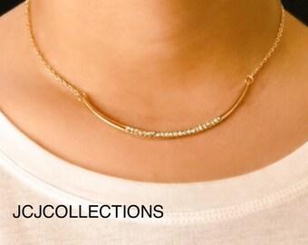 Pave CZ Curved Bar Necklace