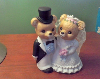 Homco bride and groom, figrines, wedding decor, cake topper, bears