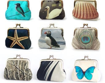 Coin purse with gift box, custom name, silk pouch, starfish, puffin, shell, bird bag