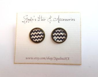 BUY 1 GET 1 FREE - Vintage inspired Bronze stud earrings 12 mm