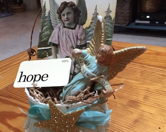 Antique angel postard accent ornament