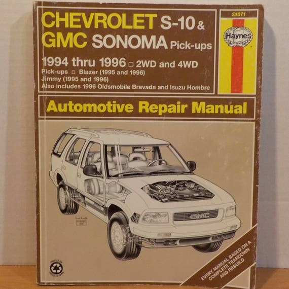 chev gm s10 sonoma haynes 1994 1996 repair tune up manual rh etsy com 1986 GMC Jimmy 1996 gmc jimmy repair manual