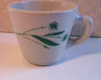 Caribe Puerto Rico USA V-3 Green Floral Green Flowers Ceramic Coffee Mug Coffee Cup Resturant Ware