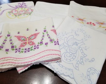 Lot of 5  Vintage Pillowcases Retro Embroidered and Crocheted Pillowcases  Vintage Bedding Retro Linens