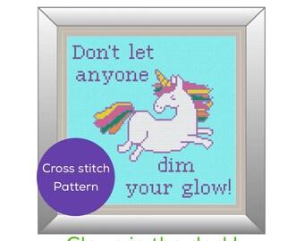 Unicorn Glow Cross Stitch Pattern