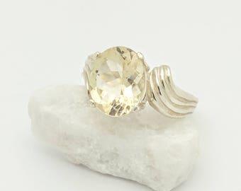 Yellow Oregon Sunstone Ring - Unique Engagement Ring - Sterling Silver Ring - Oregon Sunstone Cocktail Ring - American Gemstone - Size 6.75