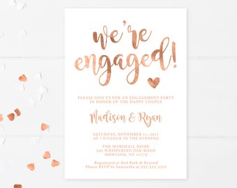 Engagement Party Invitation, We're Engaged, Rose Gold, Engagement Invitations, Engagement Invites, Rose Gold Invitation, Engaged, Gold [671]