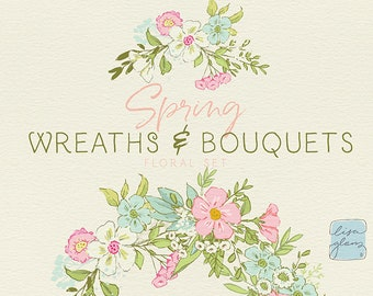 Spring Floral Wreaths and Bouquets clipart set: hand drawn floral clipart, downloadable invitation clipart for commercial use / CM103b