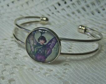 Purple Fairy Bracelet, Woodland, Fantasy Fairy cameo, Elven, Purple and Green, Sterling Silver Plated Cuff Bracelet, Fae, Faerie, Sprite