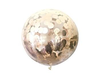 JUMBO ROSE GOLD Confetti Balloon 60cm - Jumbo 60cm Balloon Filled With Metallic Rose Gold Confetti