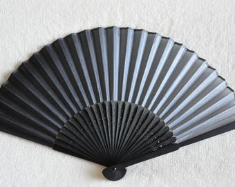 "Small 6"" Black Gradation Hand Fan -Handheld Folding Fan,boys hand fan,Men hand fan ,folding fan,Japanese hand fan, men hand fan"