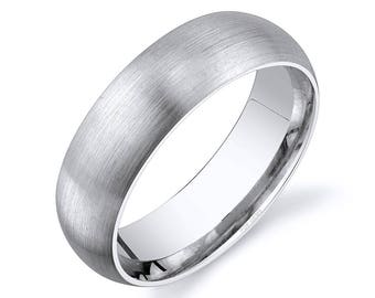 14k White Gold Band (7mm) / PLAIN / Matte Brushed Rounded Dome + Comfort Fit / Men's Women's Wedding Ring