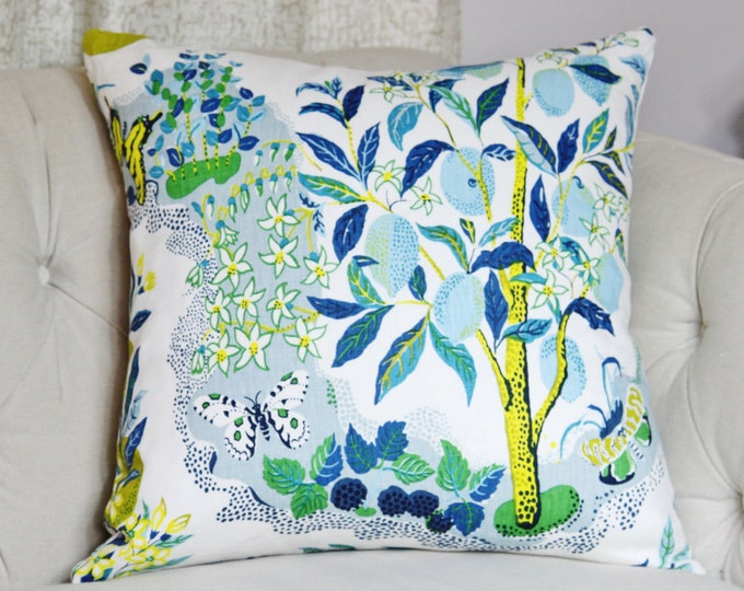 Schumacher Citrus Garden Floral in Pool Pillow Cover - Blue Green - Botanical Throw Pillow Cover