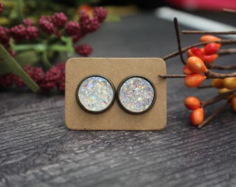 Titanium Druzy Earrings- Druzy Studs- Clear Titanium Druzy- 12mm Druzy Studs- Matching Druzy Ring