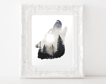 Downloadable Wolf Art Print - Wolf Silhouette - Wolf Download - Wolf Printable - Forest Art - Wolf Decor