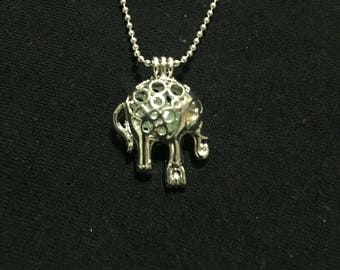 Elephant cage with light blue pearl necklace