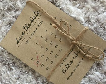 Custom Save the Date Invitation Design - calendar style