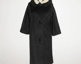 Vintage 50s 60s Lilli Ann Coat / 50s 60s Black Coat With Angora & Lamb Trim Blin And Blin Fabulous French Woolen By Lilli Ann - Size S, M
