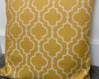 """Double-sided yellow moroccan cushion cover 22"""" 55cm cotton linen"""