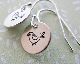 partridge dangle earrings - hand stamped silver