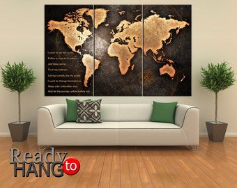 World Map Canvas, Wall Art, Large Map, Custom Wall Decor, World Map, Canvas Map, Home Decor, Custom design, Custom print, Large world map
