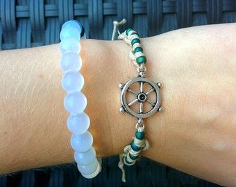 Helm Charm Bracelet, nautical bracelet, ship wheel bracelet, knotted bracelet, beaded bracelet, nautical jewelry, adjustable bracelet