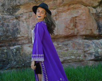 Vintage Middle Eastern Purple and Gold Wedding Jacket Caftan Embroidered Indian Ethnic African