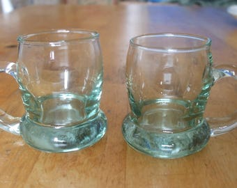 Pair of Vintage Green Glass Shot Glass Tankards