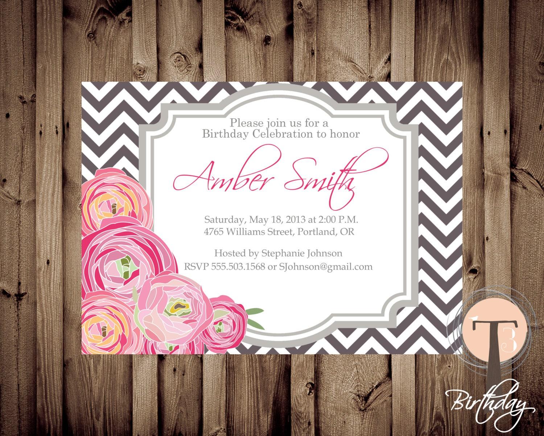 Peonies birthday invitation chevron birthday invitation elegant