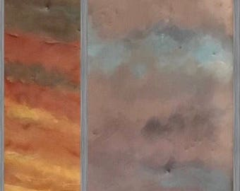 "this morning 13.5""x2.5"" - original encaustic painting peaceful, impressionist, landscape, sunrise, sunset, clouds"