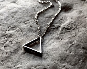 Dainty Triangle Necklace, Silver Triangle Necklace, Dainty Silver Triangle, Triangle, Triangles Silver Necklace Dainty Choker Christmas Gift