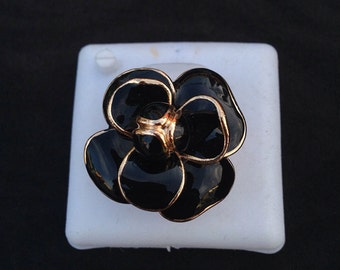 Handmade black rose ring