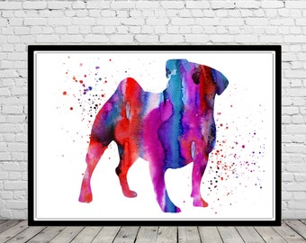 Pug, Pug dog watercolor print, watercolor Pug, Pug print, dog print, animal art, dog, Kids Room Decor, Poster, wall art, print (369b)
