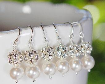Bridesmaid Earrings, 3 Pair, White Pearl, Rhinestone Ball, Swarovski Crystal, French Ear Wires, Bridal, Elegant