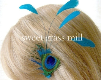 Peacock Feather Fascinator - BLEU PEACOQUE - Teal Turquoise Feather Plume Clip