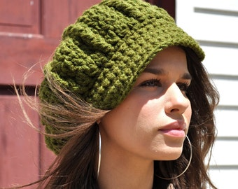 Women's Crochet Newsboy Hat with Brim - Olive Green Hat - Gift for Her - Crocheted Hat Adult - Woman's Hat - Newsboy style cap - Slouchy Hat