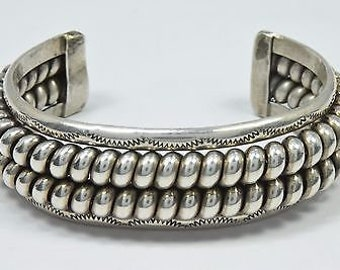 Navajo Two Row Twist Hand Stamped Cuff .925 Sterling Silver Bracelet