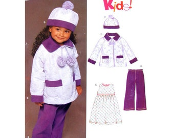 Girls Empire Dress, Coat, Hat, Pants Pattern New Look 6447 Jumper Toddler Size 1/2 1 2 3 4 Sewing Pattern