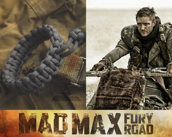 Mad Max Fury Road Tom Hardy Paracord Survival Bracelet - CHARCOAL GREY Color