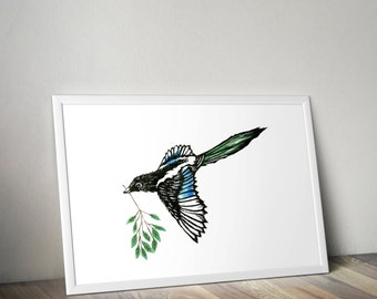 Magpie, Linocut, Hand Printed, Linoprint, Wall Art, 10 x 8, Limited Edition, Art, Bird illustration, print, bird lovers, garden bird