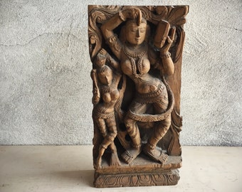 India Antique Carved Wood Panel Hindu Goddess Lakshmi Laxmi Architectural Wood Carving
