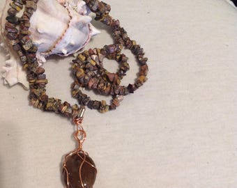 Picture jasper nugget necklace