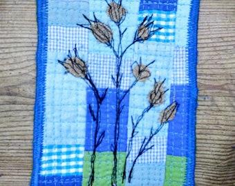 Turquoise Mini Art Quilt. Original Thread Painting. Fiber Postcard.