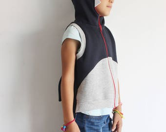 Shark costume, shark vest, shark sleeveless jacket, vest with hoodie, shark kids, boys clothes, sleeveless hoodie, Halloween costume shark