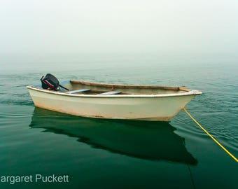 Boat, Fog, Maine, Cutler Bay, Nautical, Wall Art, Blue/Green