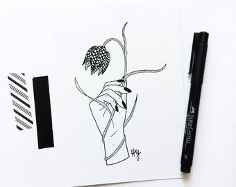 Fritillary Flower Illustration, Snake's Head Botanical Minimalist Art, Gifts Under 50, Gift for Best Friend, Gift for Plant Lover