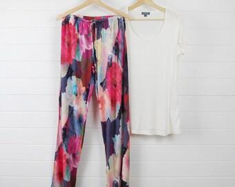 Printed Bamboo Pyjama Set - Dark Poppy